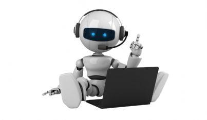 robot con cuffie e microfono