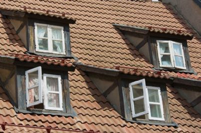 abbaini sul tetto di una casa