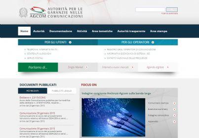 Screenshot del sito dell'Agcom