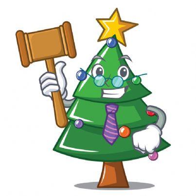 albero di Natale con faccia e martello