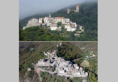 Arquata del Tronto prima e dopo il terremoto del 2016