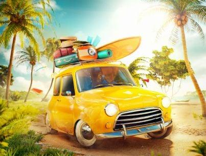 auto carica di bagagli per le vacanze