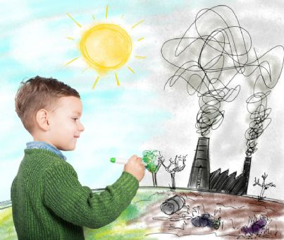 bambino disegna un futuro migliore