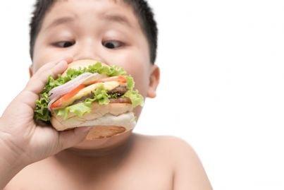 bambino obeso che mangia panino