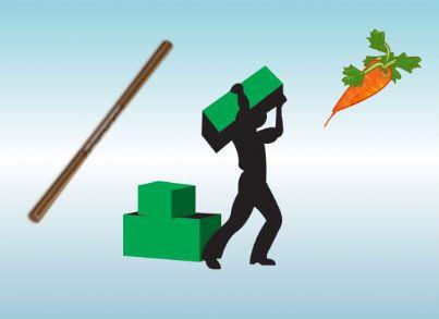 Il bastone e la carota con in mezzo un lavoratore