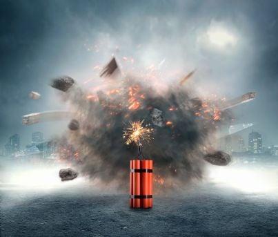 una bomba che esplode
