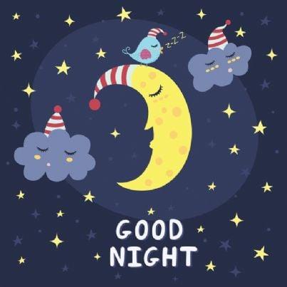 buonanotte con luna e stelle
