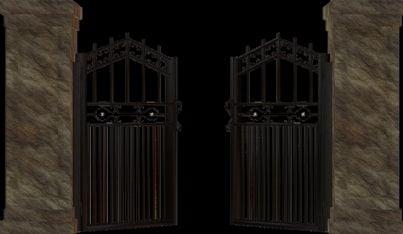 cancello in ferro battuto aperto