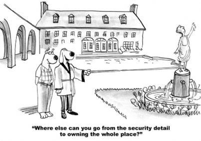 vignetta con due cani che ricevono villa ereditata