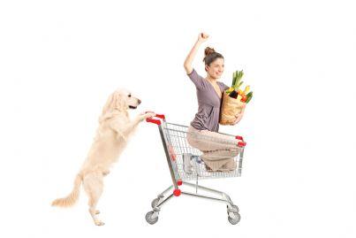 cane che spinge il carrello di un supermercato