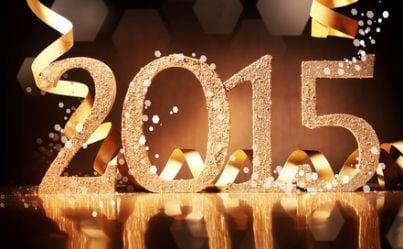 Scritta 2015 in un contesto festivo