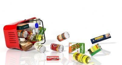 cestino con prodotti alimentari svuotato