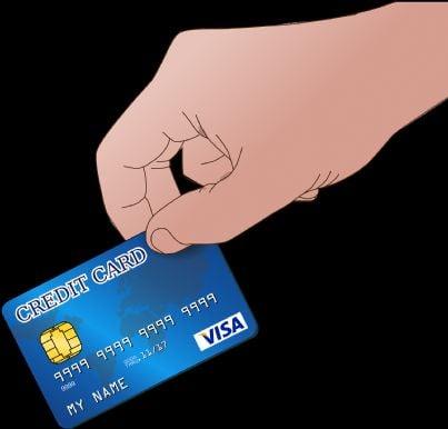 carta di credito in mano