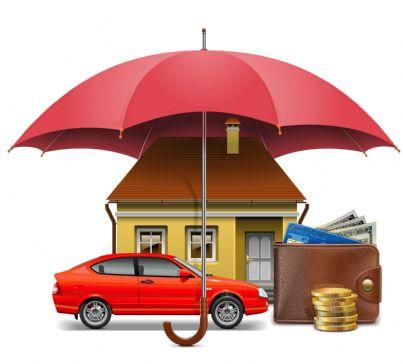 auto casa e risparmi protetti da ombrello