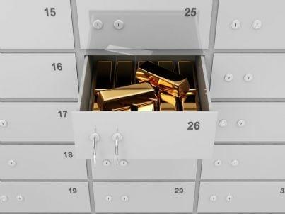 cassetta di sicurezza con lingotti in banca