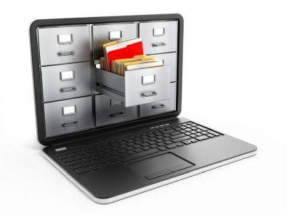 cassetto sullo schermo di un computer per contenere file