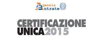 Scritta di intestazione del modello di certificazione unica 2015