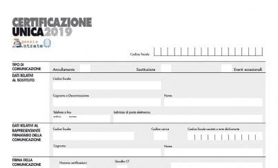 Certificazione unica 2019 - Certificazione lavoro autonomo provvigioni e redditi diversi causale a ...