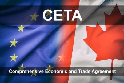 due bandiere Europa e Canada con scritta Ceta trattato commerciale