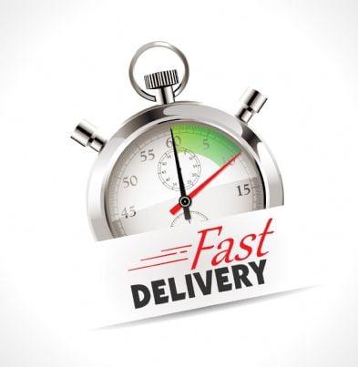 cronometro che segna tempo concetto di consegna veloce