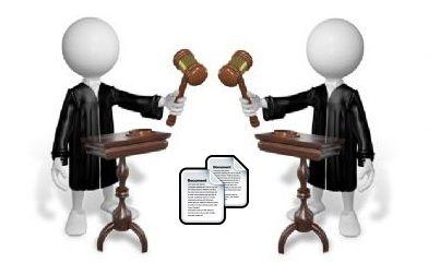 Doppia immagine di plastilina di un giudice