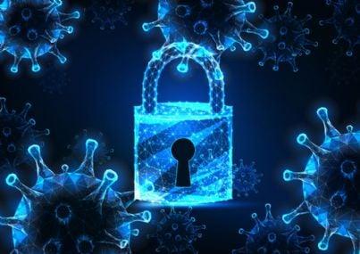 coronavirus e lucchetto concetto di lockdown