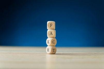 cubi di legno con parole vero o falso