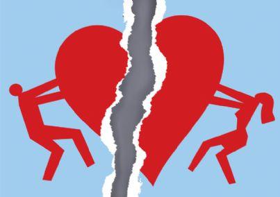 cuore spezzato con coppia divorziata