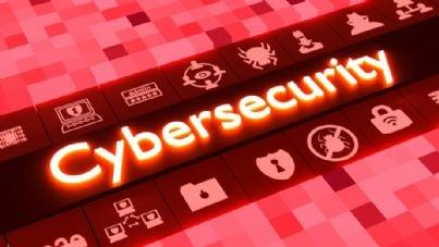 cybersecurity su sfondo rosso digitale