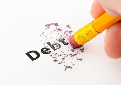 matita che cancella parola debito