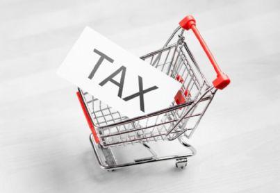 parola tasse dentro carrello della spesa