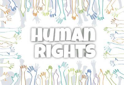 Illustrazione con la scritta Diritti Umani