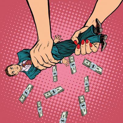 mani di donna strizzano uomo per soldi concetto divorzio
