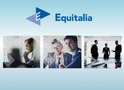 Rappresentazione di un collage di foto di Equitalia con logo