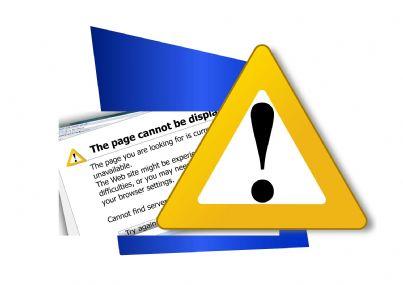Cartello che mostra pagina di errore su internet