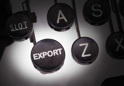 macchina da scrivere con tasto export
