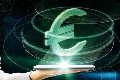 euro digitale che emerge da telefono concetto criptovalute