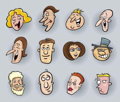 facce che ridono in una vignetta