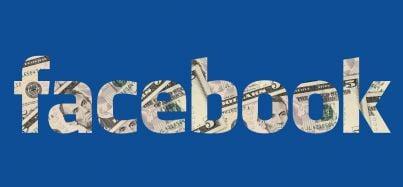 logo di Facebook con dentro soldi