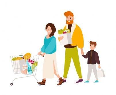 famiglia fa la spesa col carrello