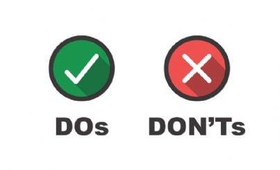 icone del fare o non fare o buoni e cattivi