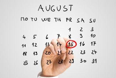calendario con data ferragosto
