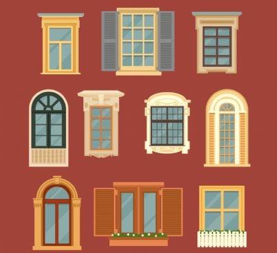 set di finestre su una parete