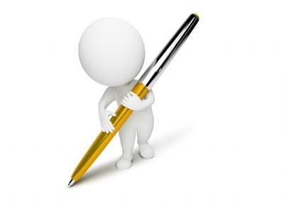Pupazzo con una penna in mano