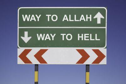 cartello allah o inferno concetto fondamentalismo islamico