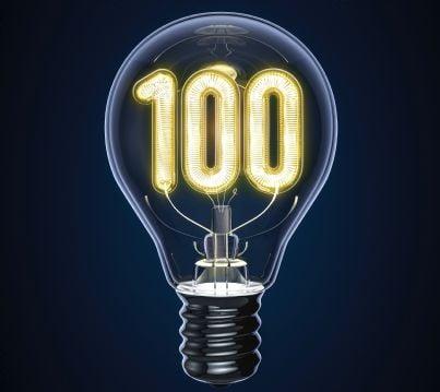 lampadina con numero 100