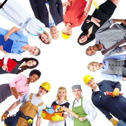 giovane gruppo di lavoratori