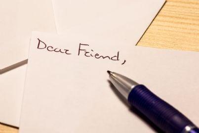 lettera inviata da amico scritta a mano