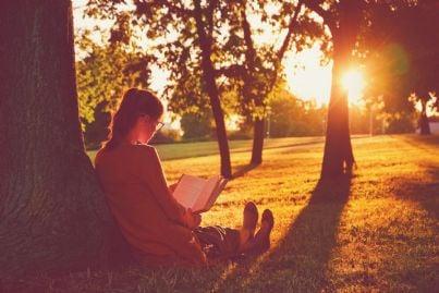 donna legge libro ai piedi di un albero