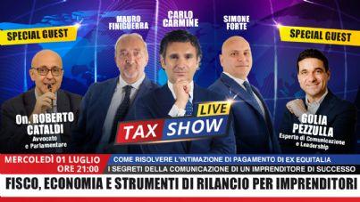locandina puntata Tax Show Live 1 luglio 2020
